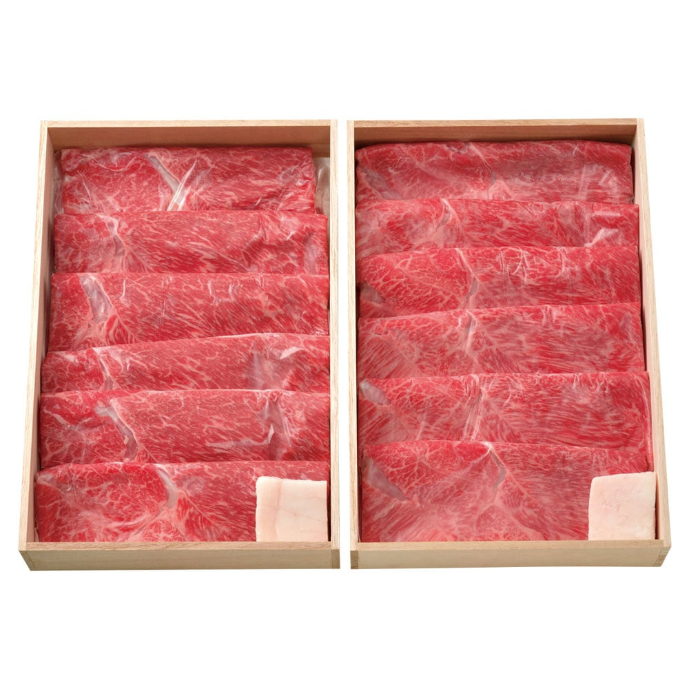 Aセット(肩)すき焼き用米沢牛&山形牛(木箱入り)