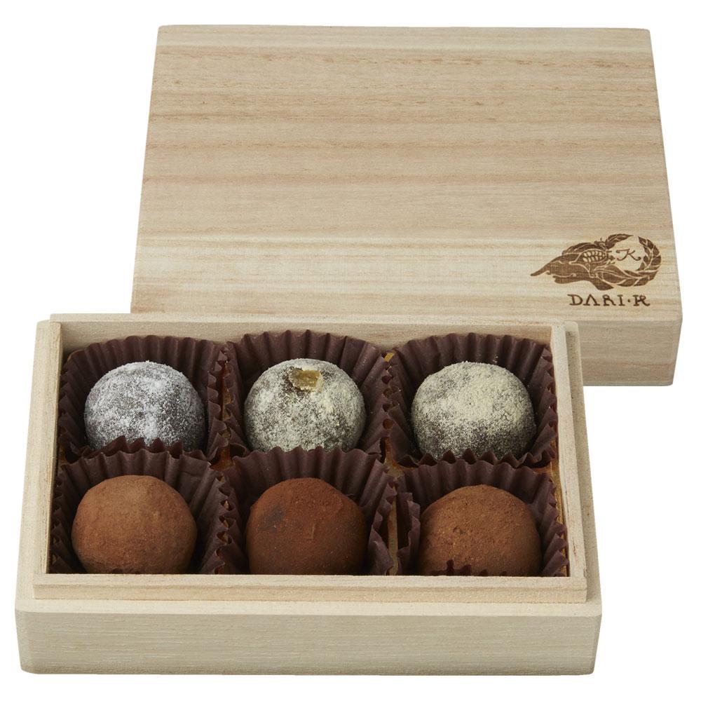カカオが香るチョコレート・トリュフ6粒(木箱入り)(ホワイトデーお届け専用)