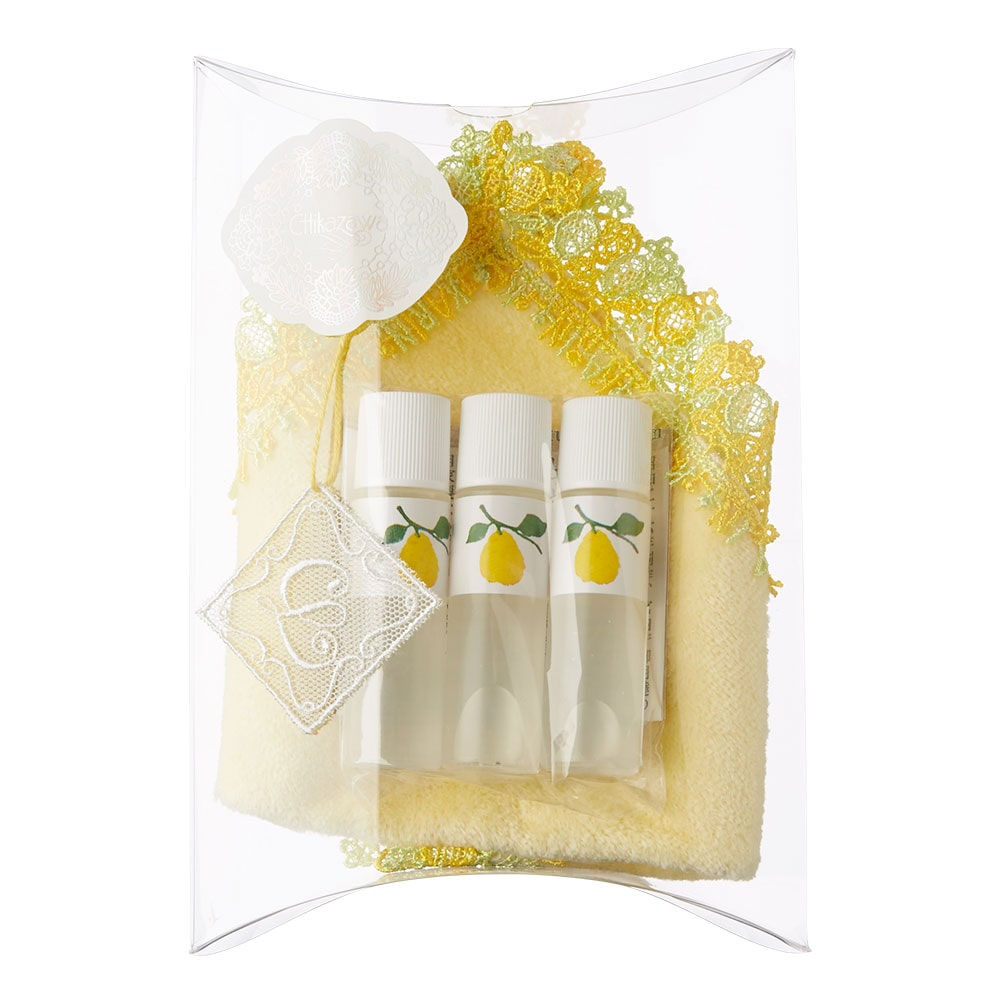 花梨 タオルハンカチ(イエロー)・化粧水セット
