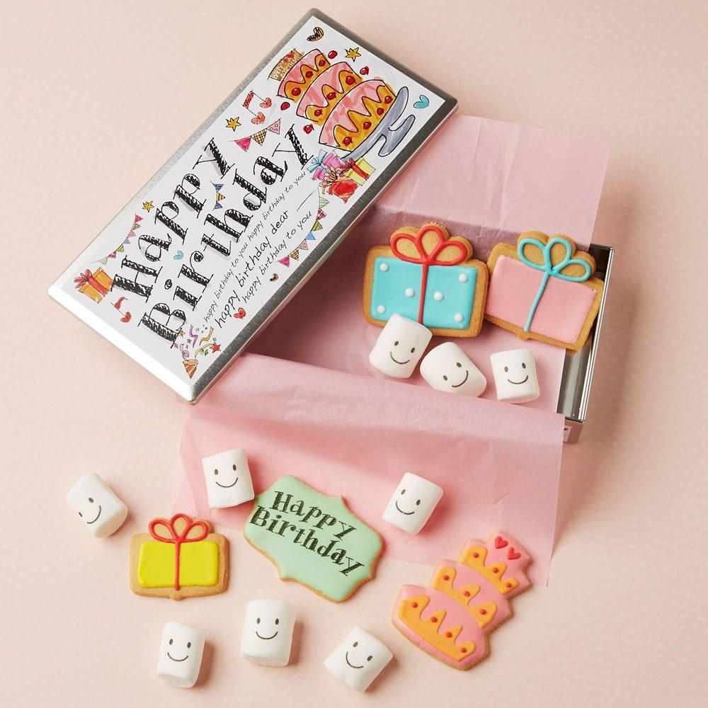 クッキー&マシュマロ Happy Birthday缶