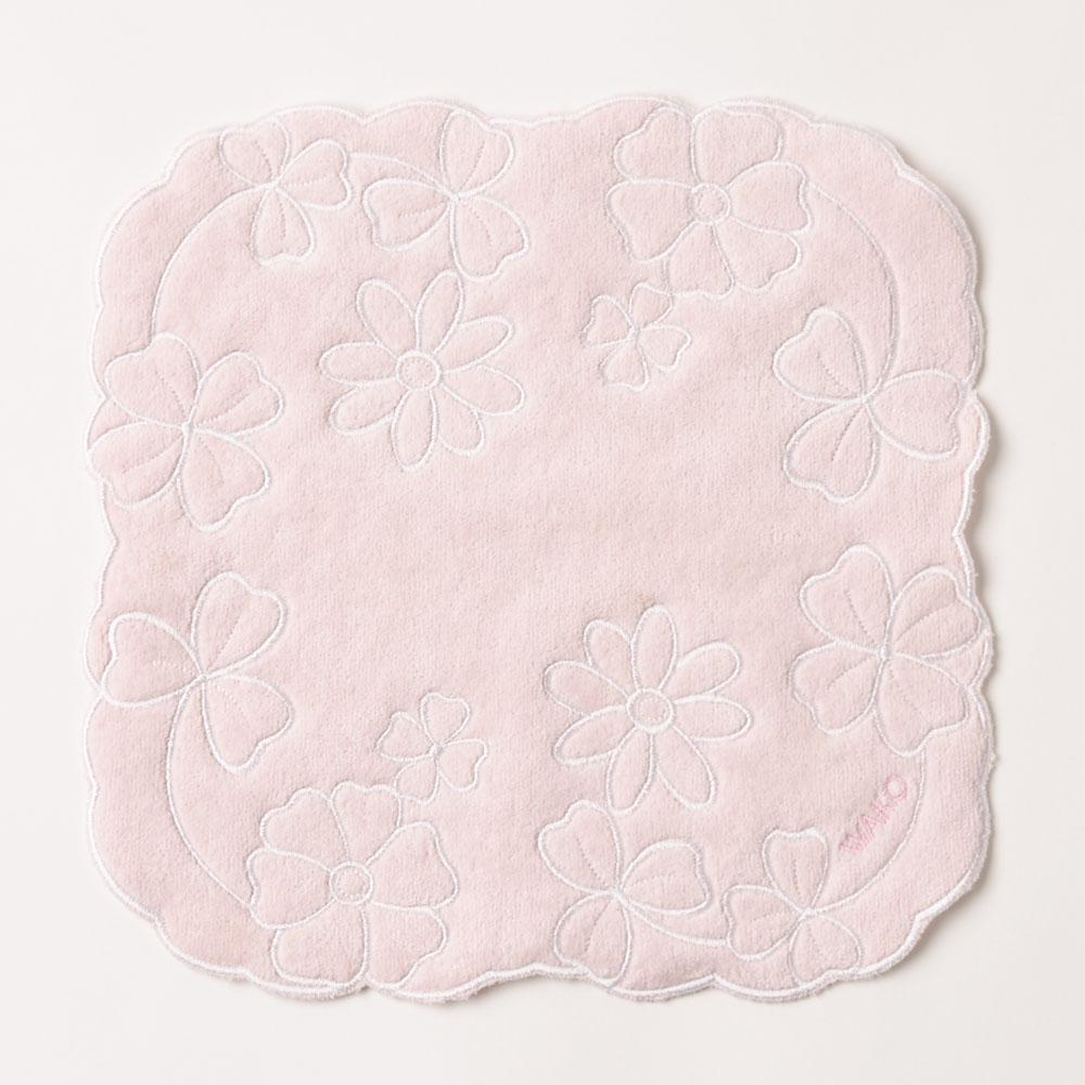 タオルハンカチーフ 花とクローバー ピンク