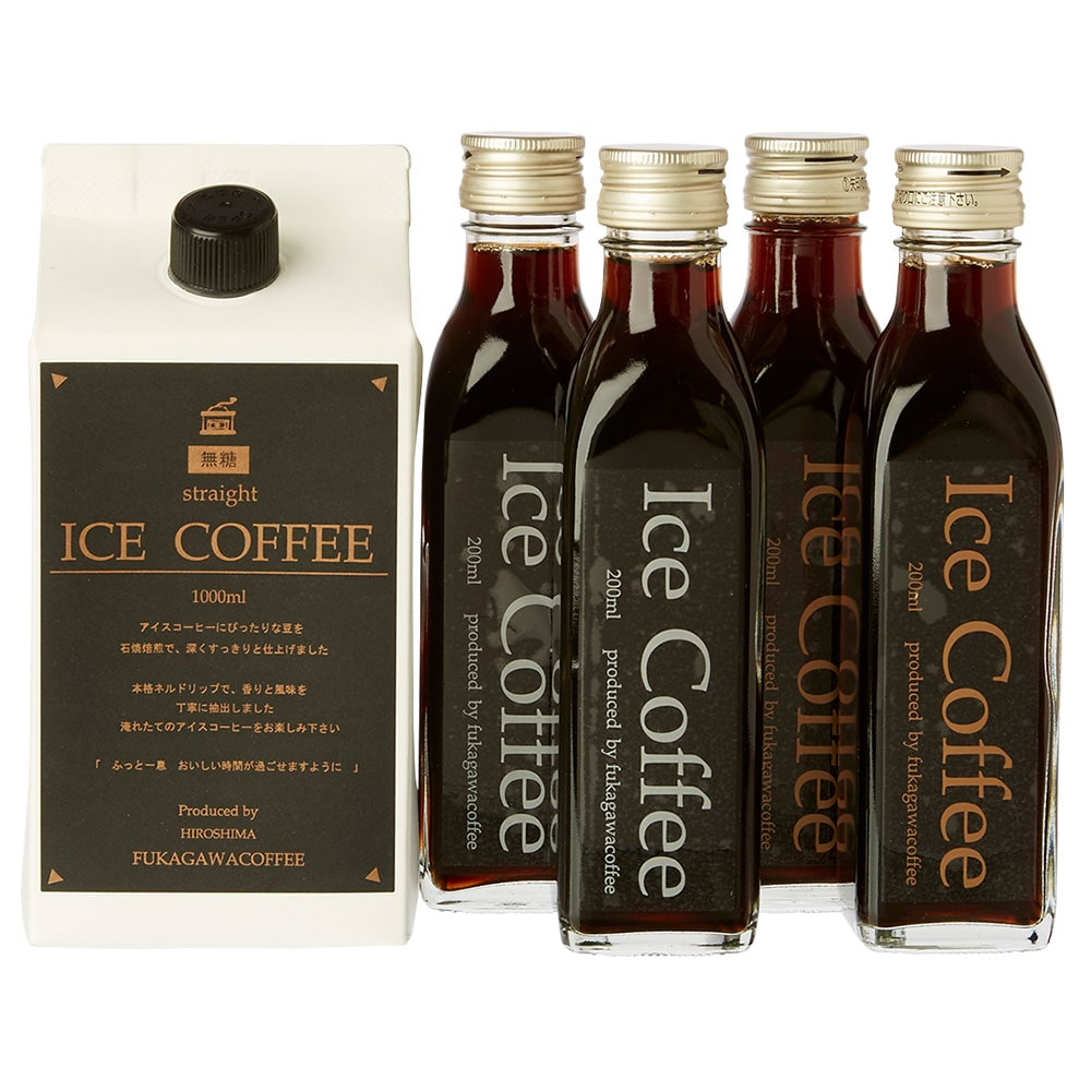石焼焙煎アイスコーヒー無糖(1000ml×1パック&200ml×4瓶セット)