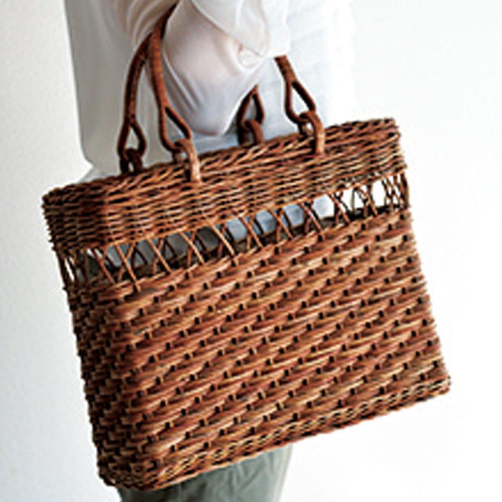 角型透かしこだし編みあけび籠バッグ