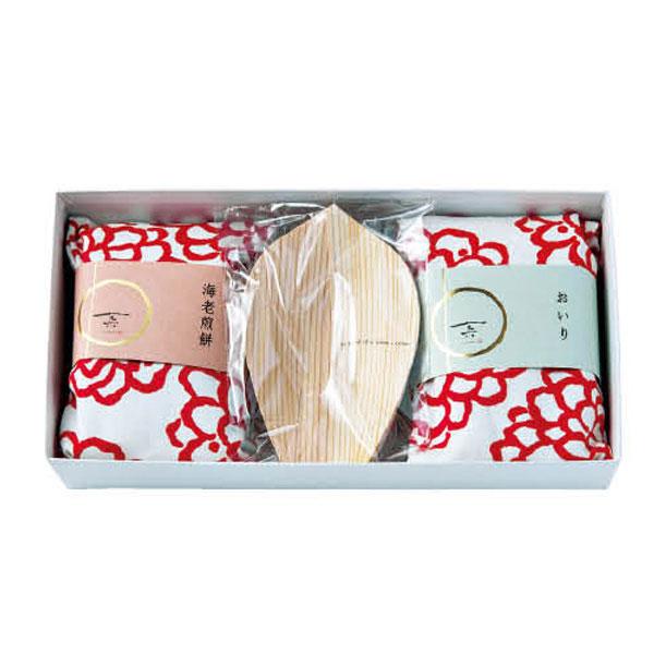 おいりと海老煎餅+経木の蓮弁皿セット