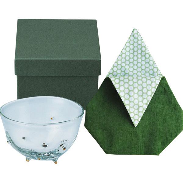 ガラスの茶碗と茶碗袋2点セット