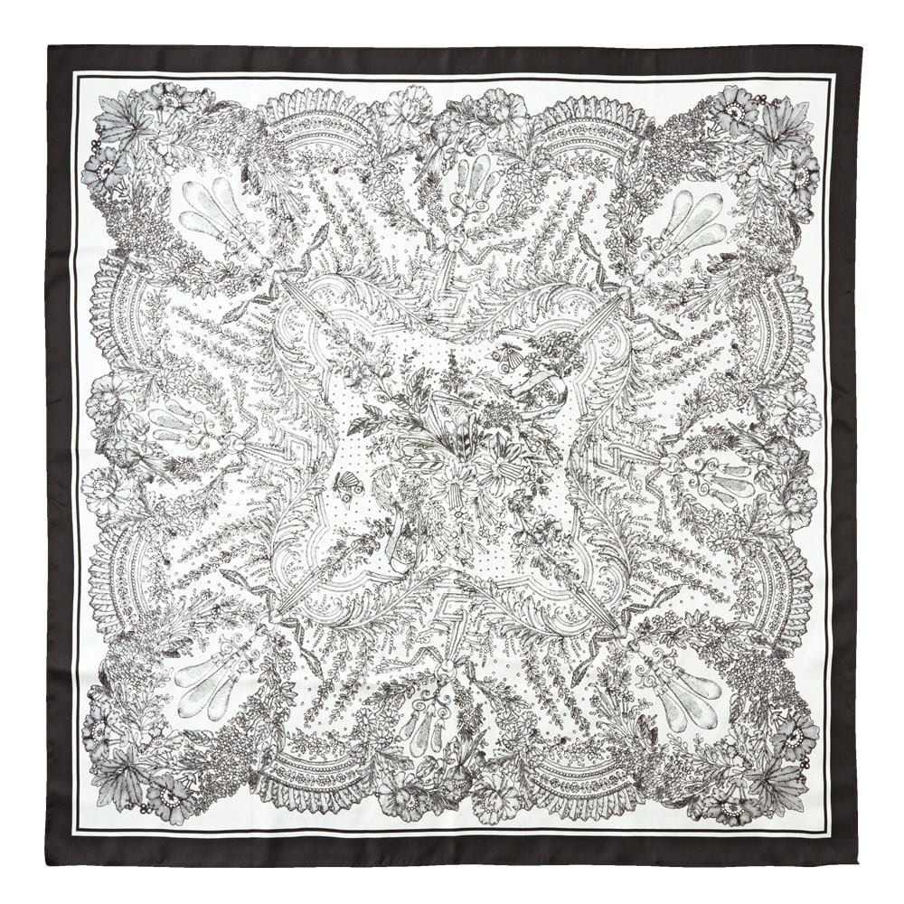 アンティークレース柄捺染スカーフ ブラック