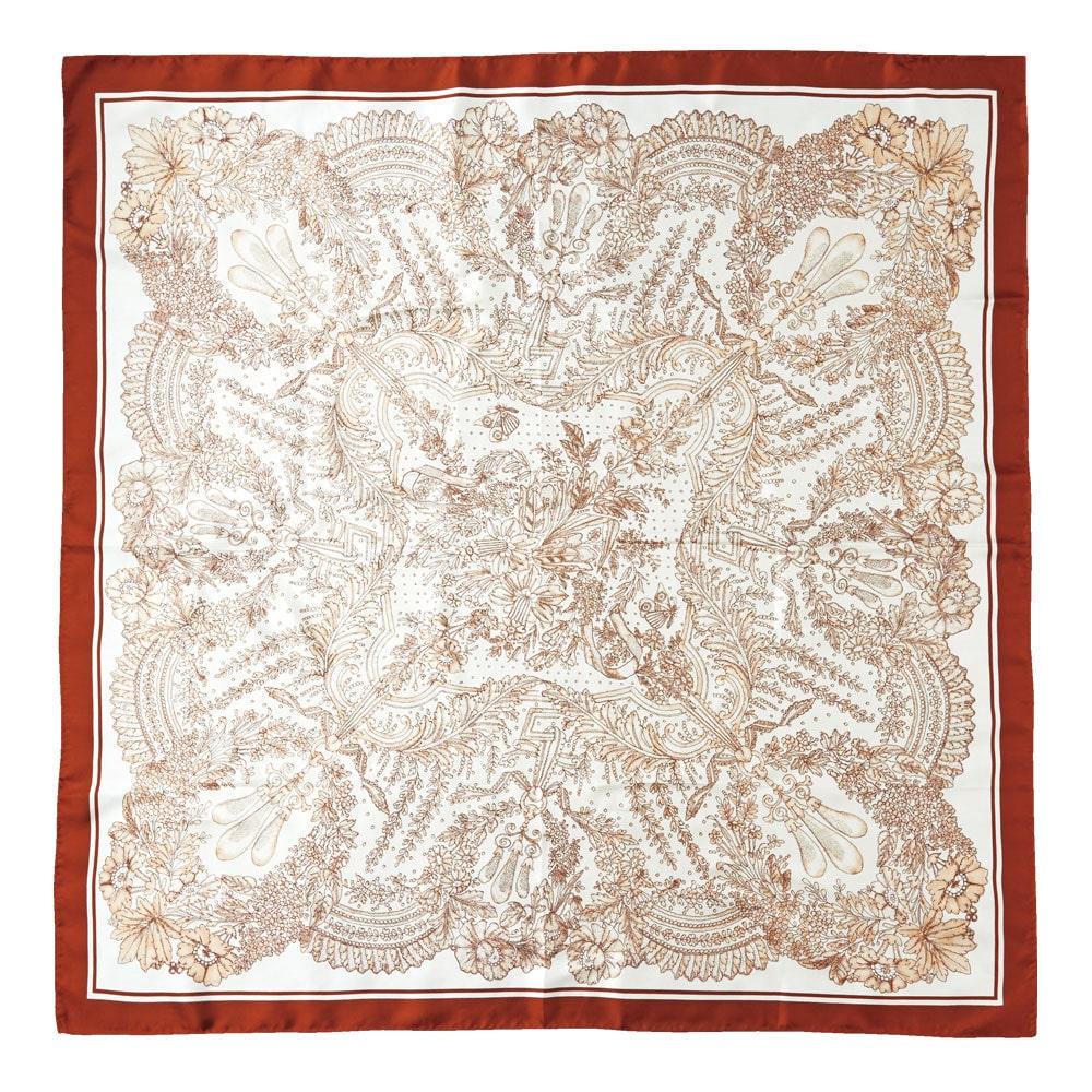 アンティークレース柄捺染スカーフ 煉瓦