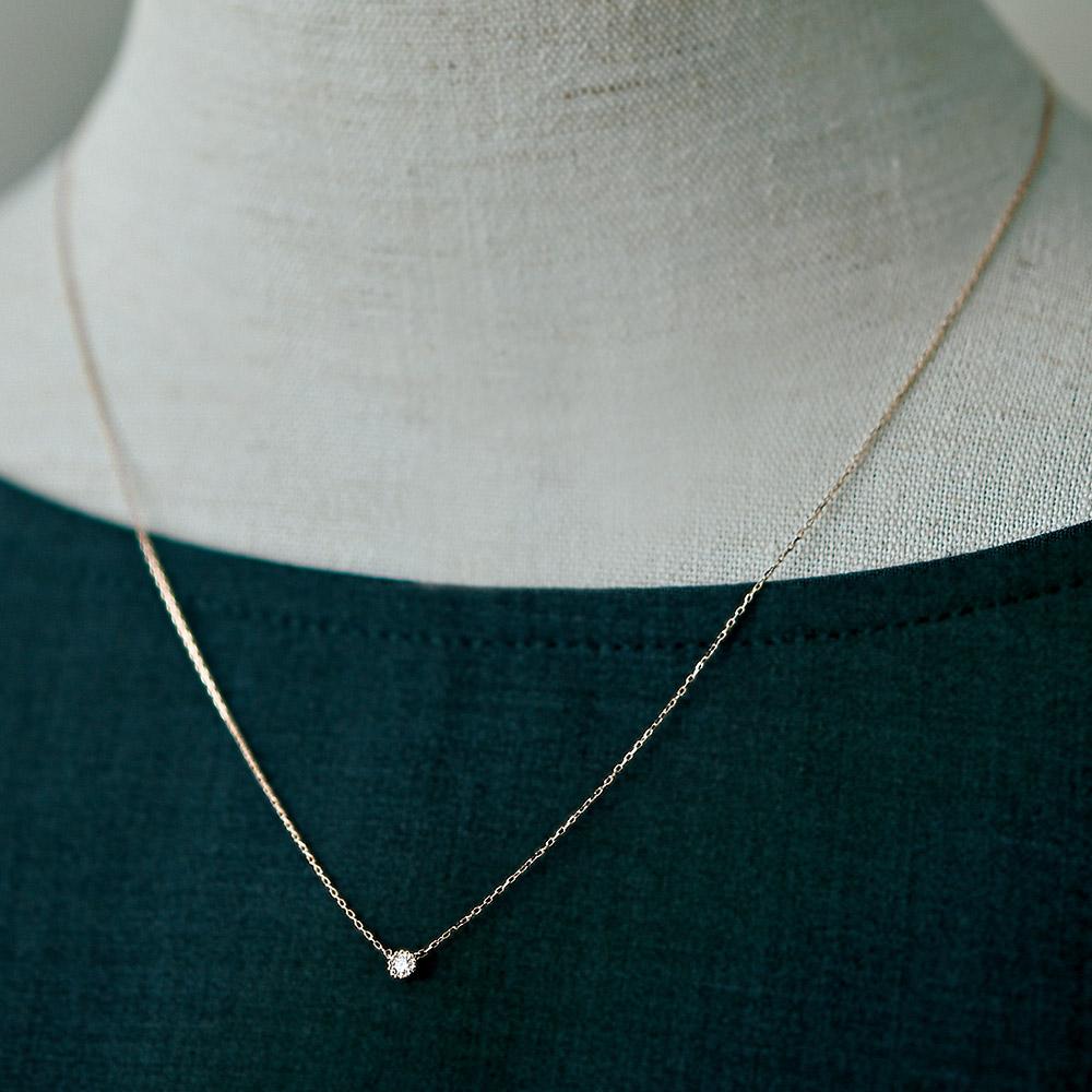 ジュエリー ティント ひと粒リアルダイヤモンド ネックレス商品画像