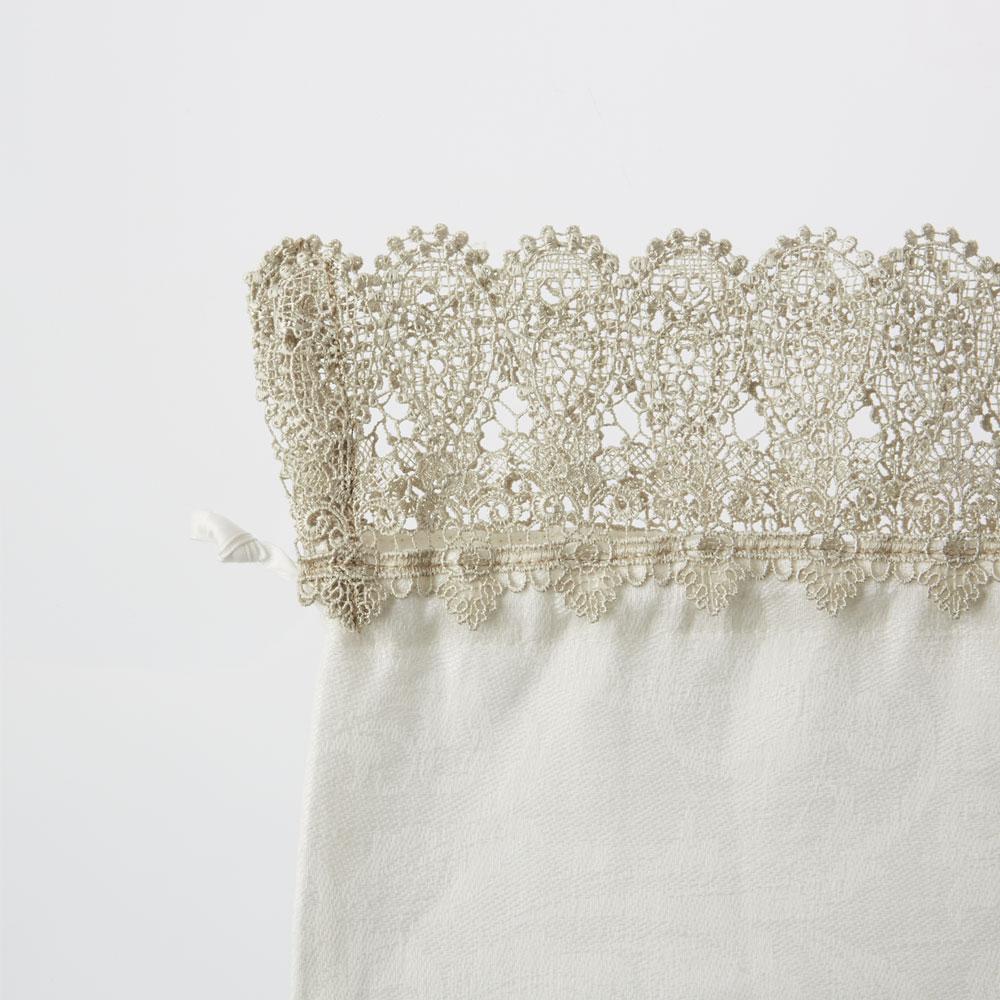 婦人画報別注 ペイズリーレース巾着ジャカードホワイト