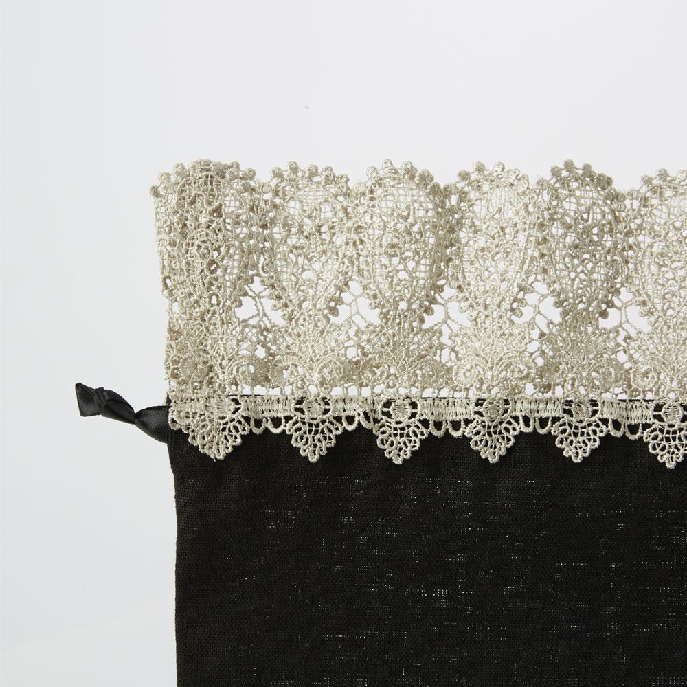 婦人画報別注 ペイズリーレース巾着ハーフサイズ ブラック