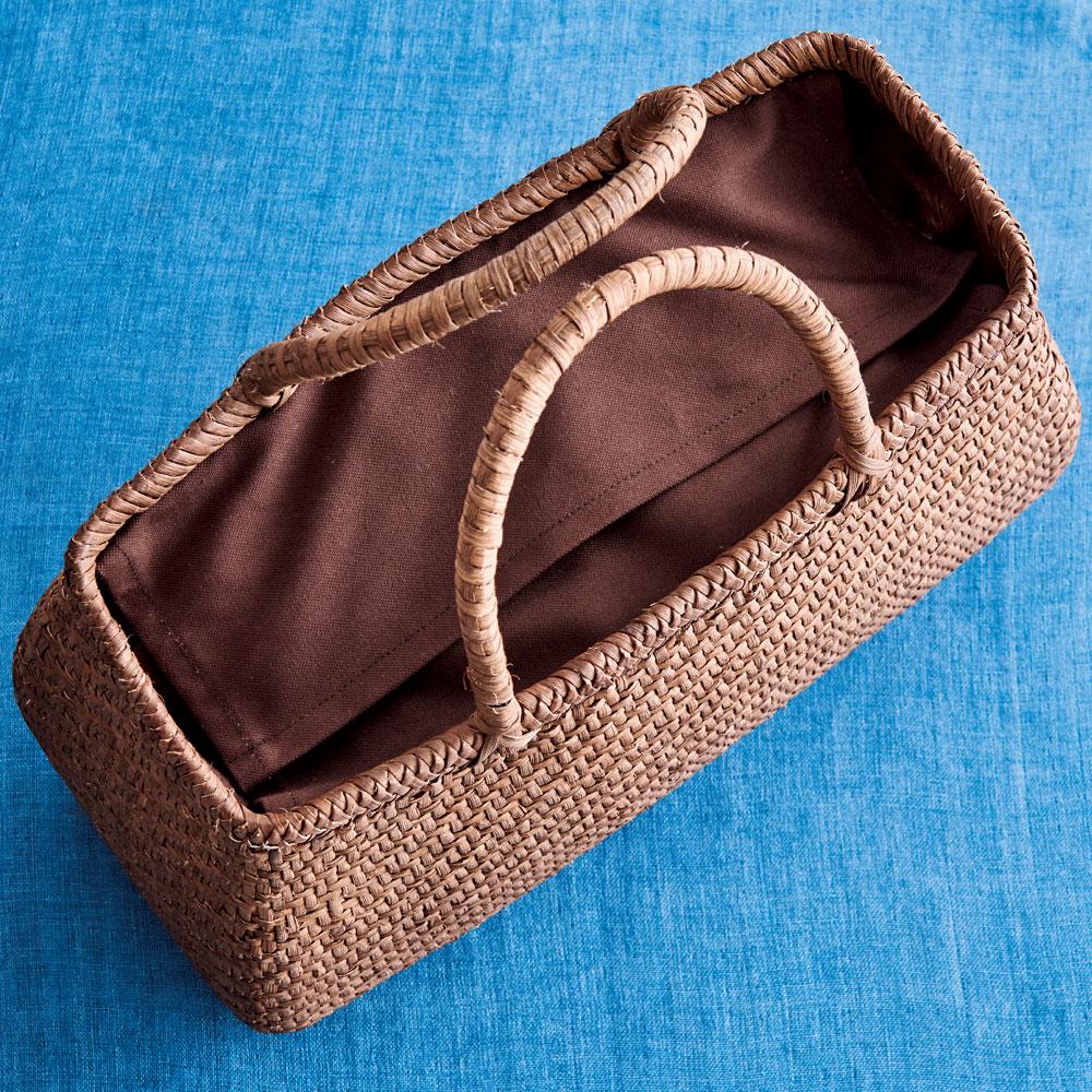戸田寒風さんの山ぶどう籠バッグ極細網代編み