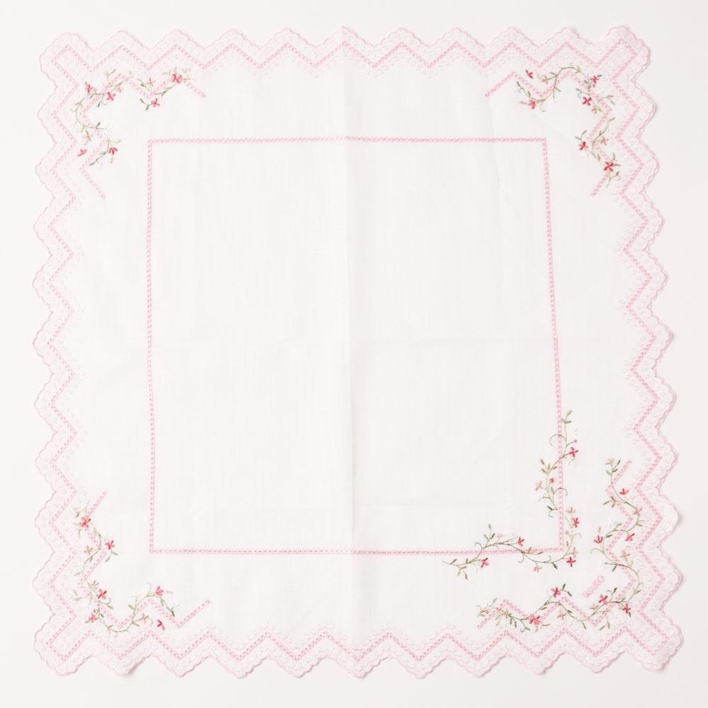 リネン小花柄ハンカチーフ ピンク