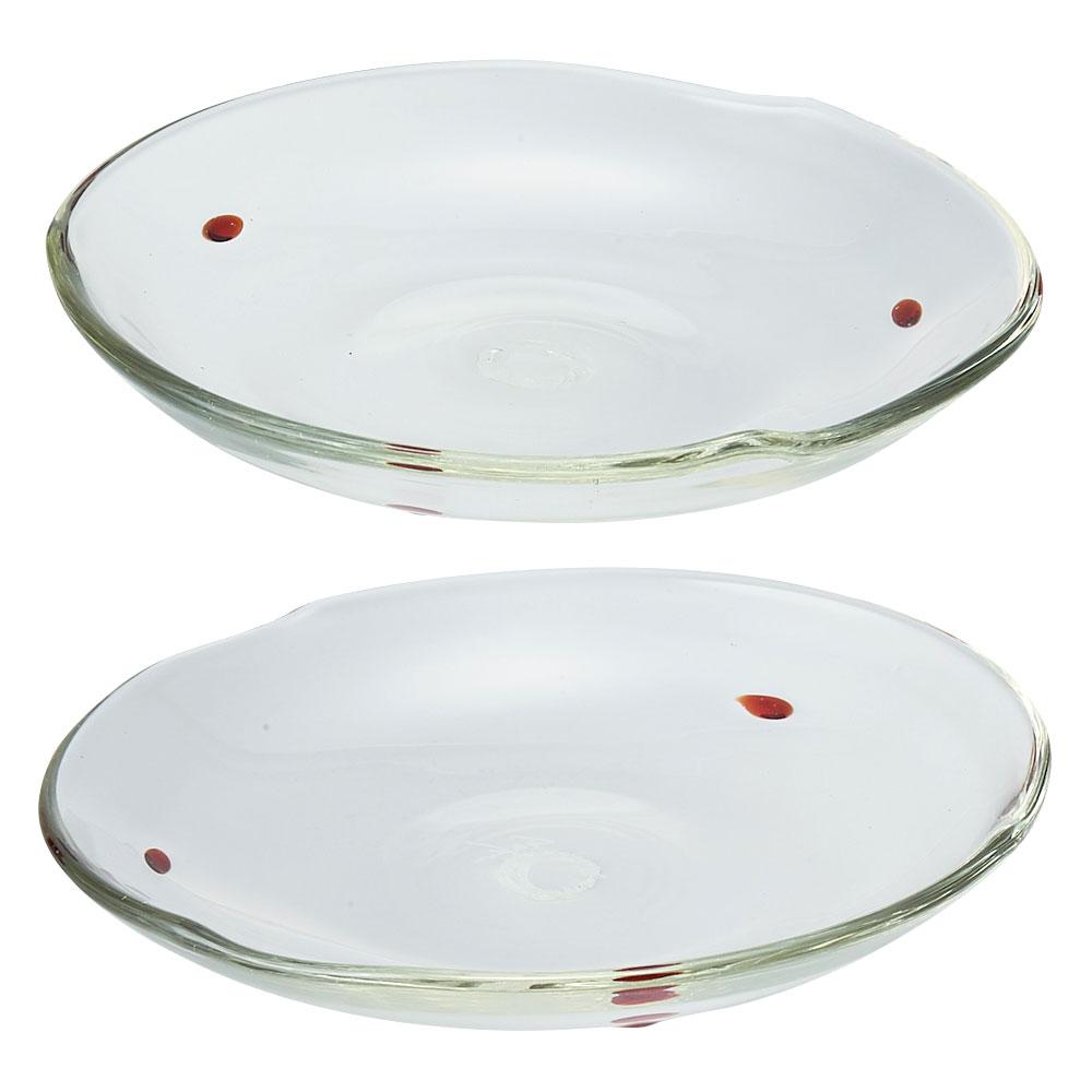 村松学さんのガラス食器 ペアドット小皿 赤(2枚セット)