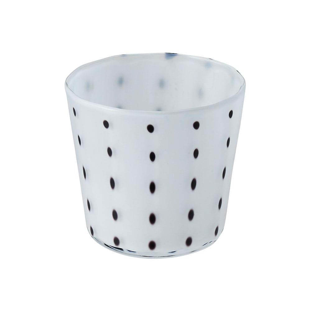 鈴木努さんのガラス器 豆絞りグラス ホワイト