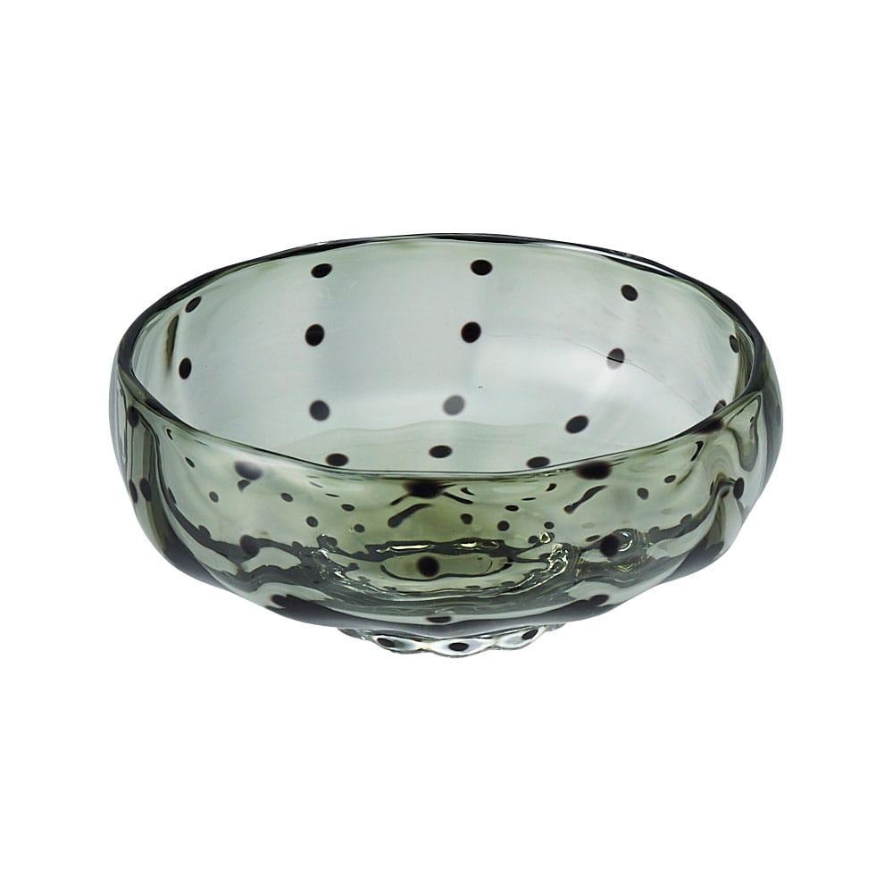 鈴木努さんのガラス器 豆絞り小鉢 オリーブ