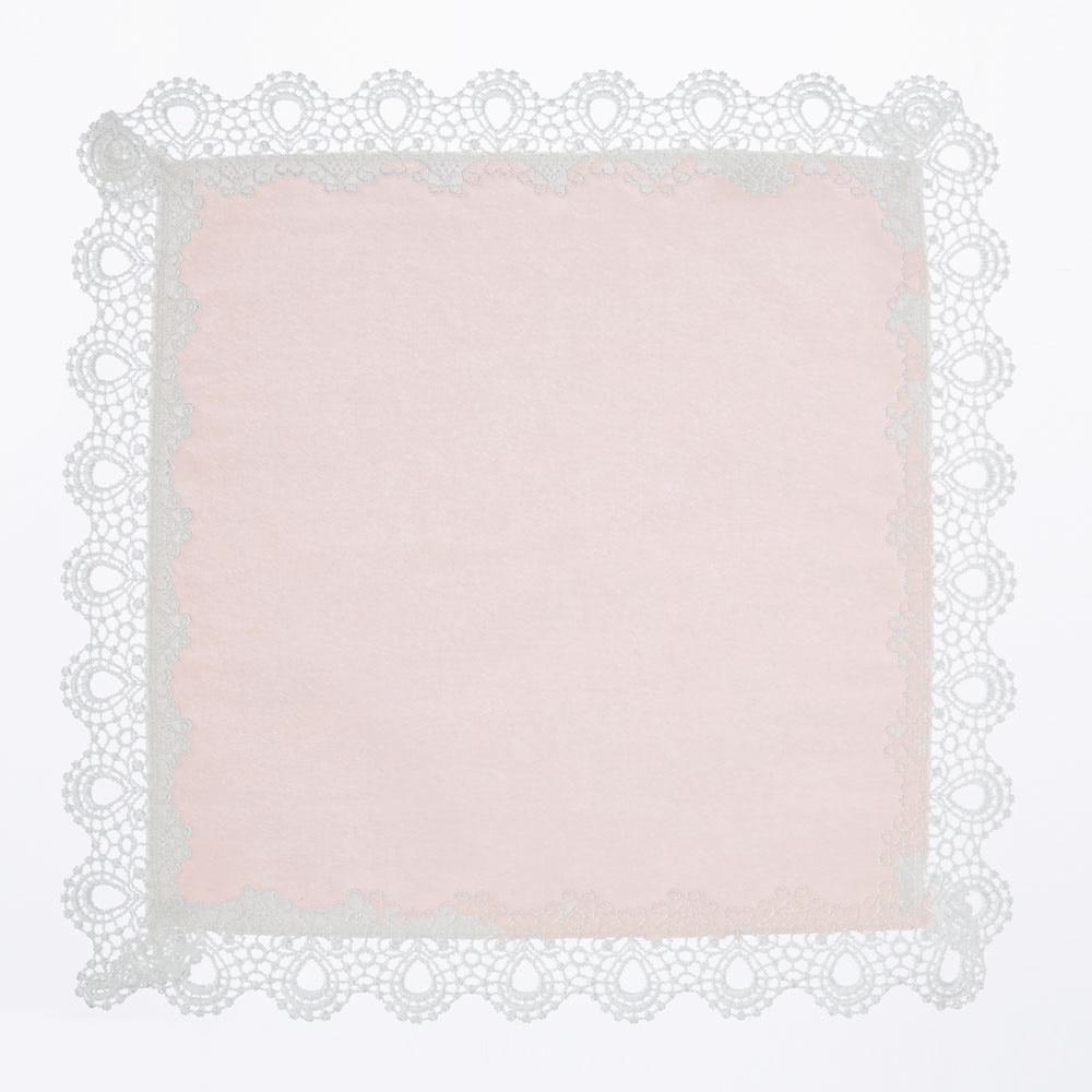 ミニヨンレースタオルハンカチ2枚セット(ホワイト・ピンク)