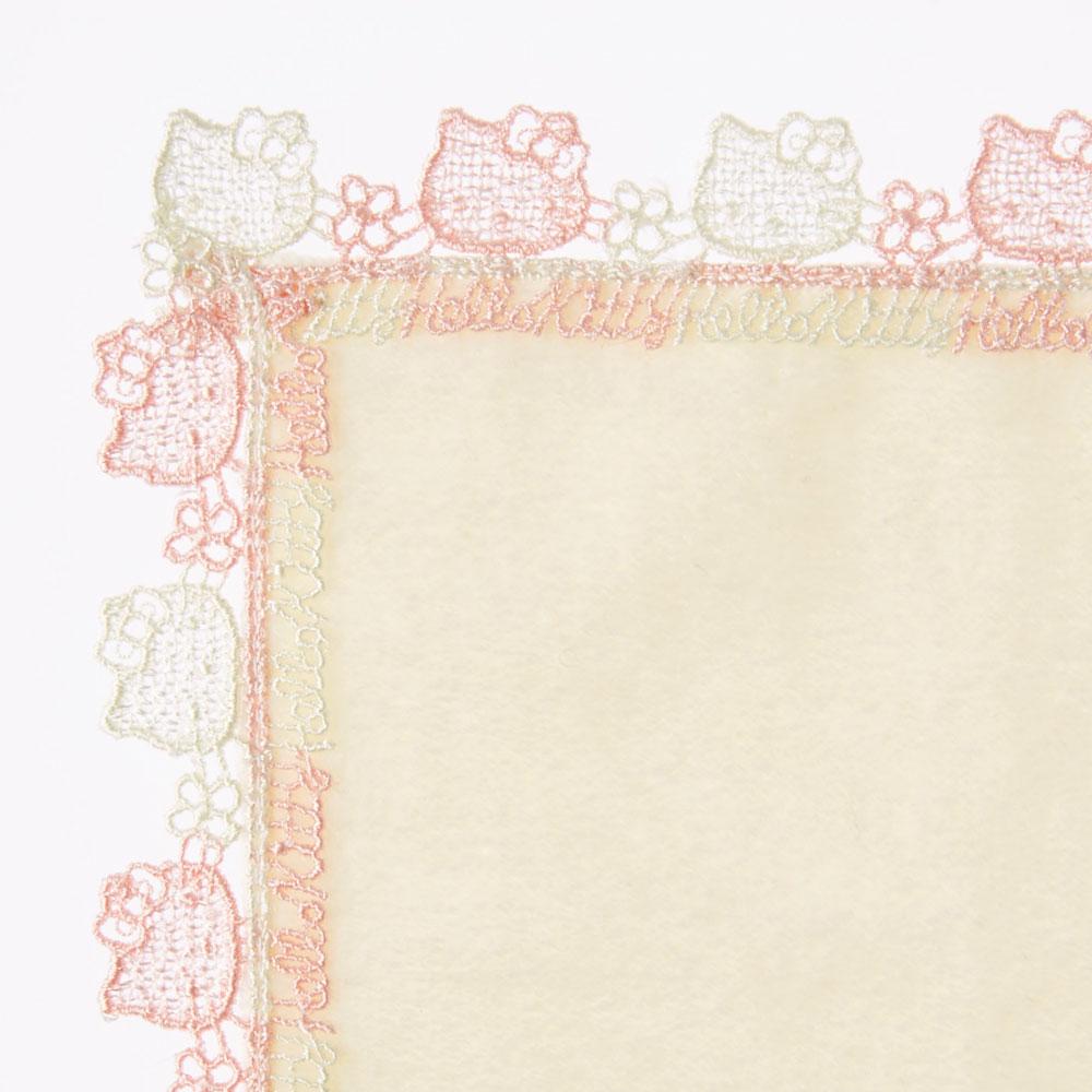 ハローキティタオルハンカチ(クリーム)・巾着(ホワイト×ピンク)