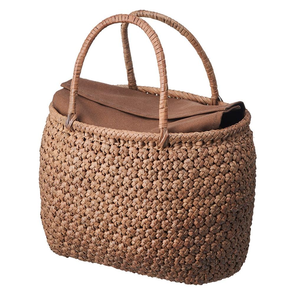 山ぶどう籠バッグ 花結び編み