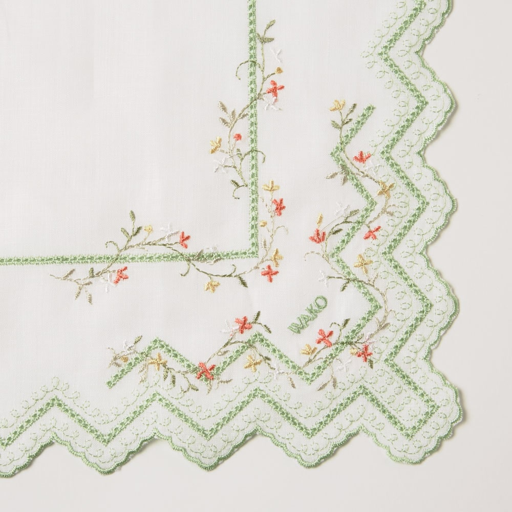リネン小花柄ハンカチーフ 黄緑