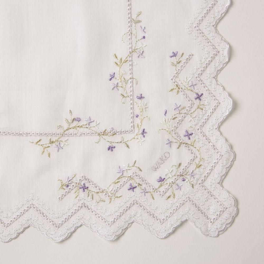 リネン小花柄ハンカチーフ ラベンダー