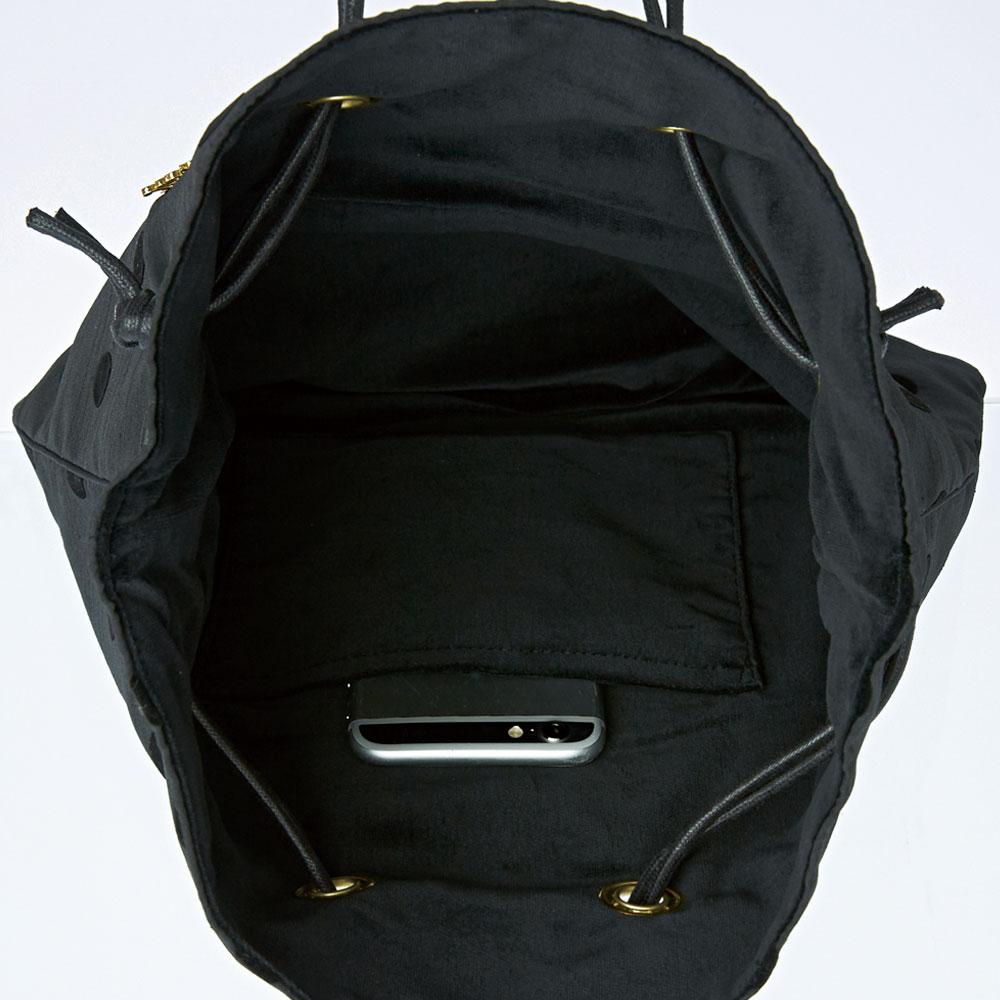 巾着バッグ ドットシャンタン ブラック