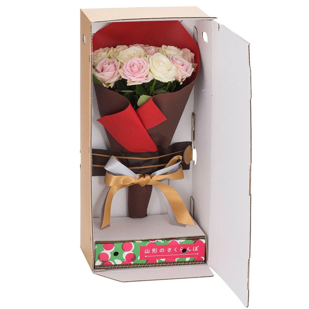 山形県産さくらんぼ700g&バラ(ホワイト×ピンク)12本セット