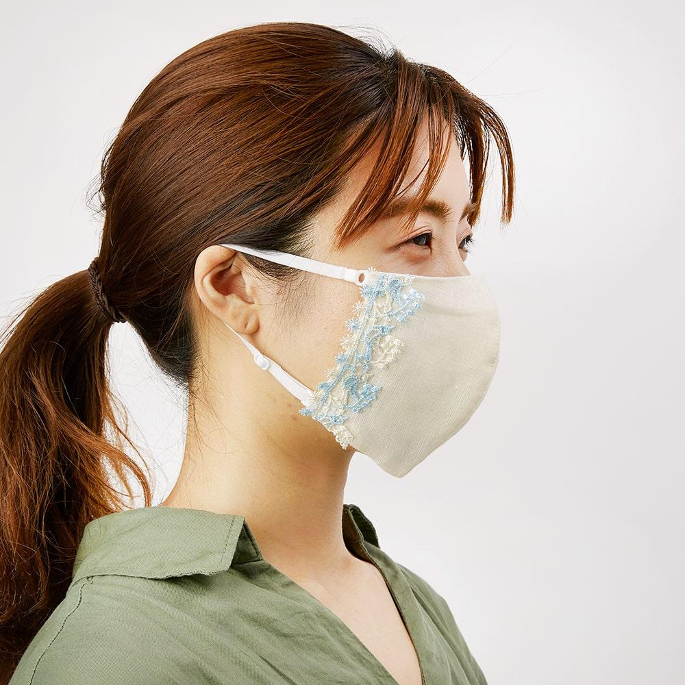 婦人画報別注レース付冷感マスク(青い鳥×クリーム)