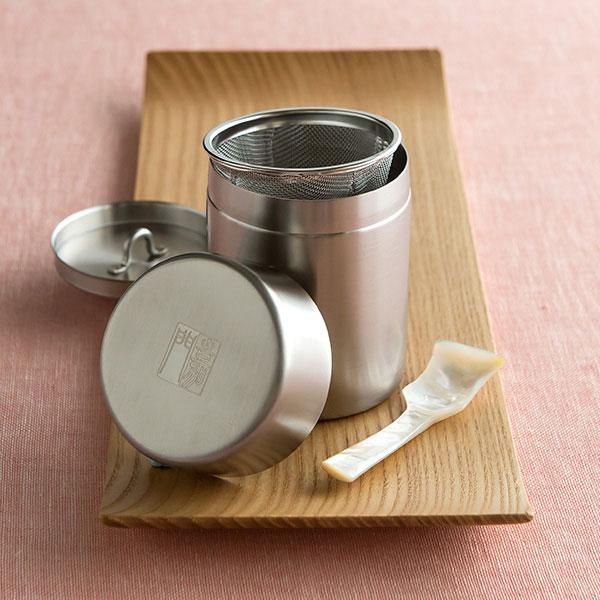 オリジナル内蓋付き茶漉し缶