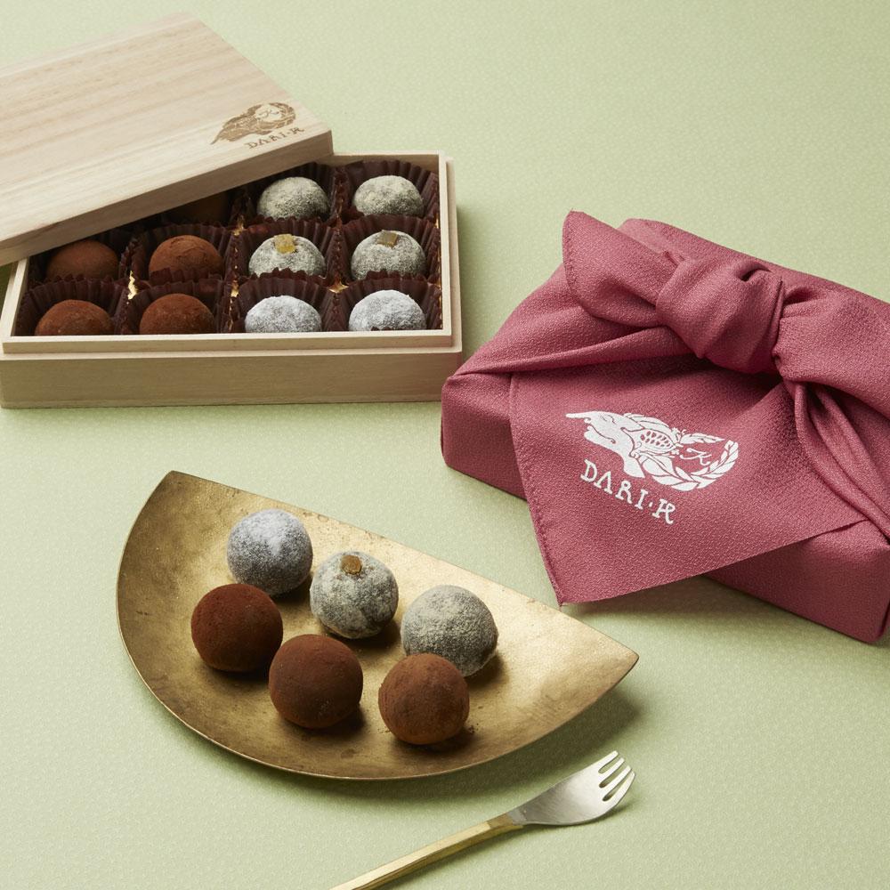 カカオが香るチョコレート・トリュフ12粒(木箱入り)オリジナル風呂敷付