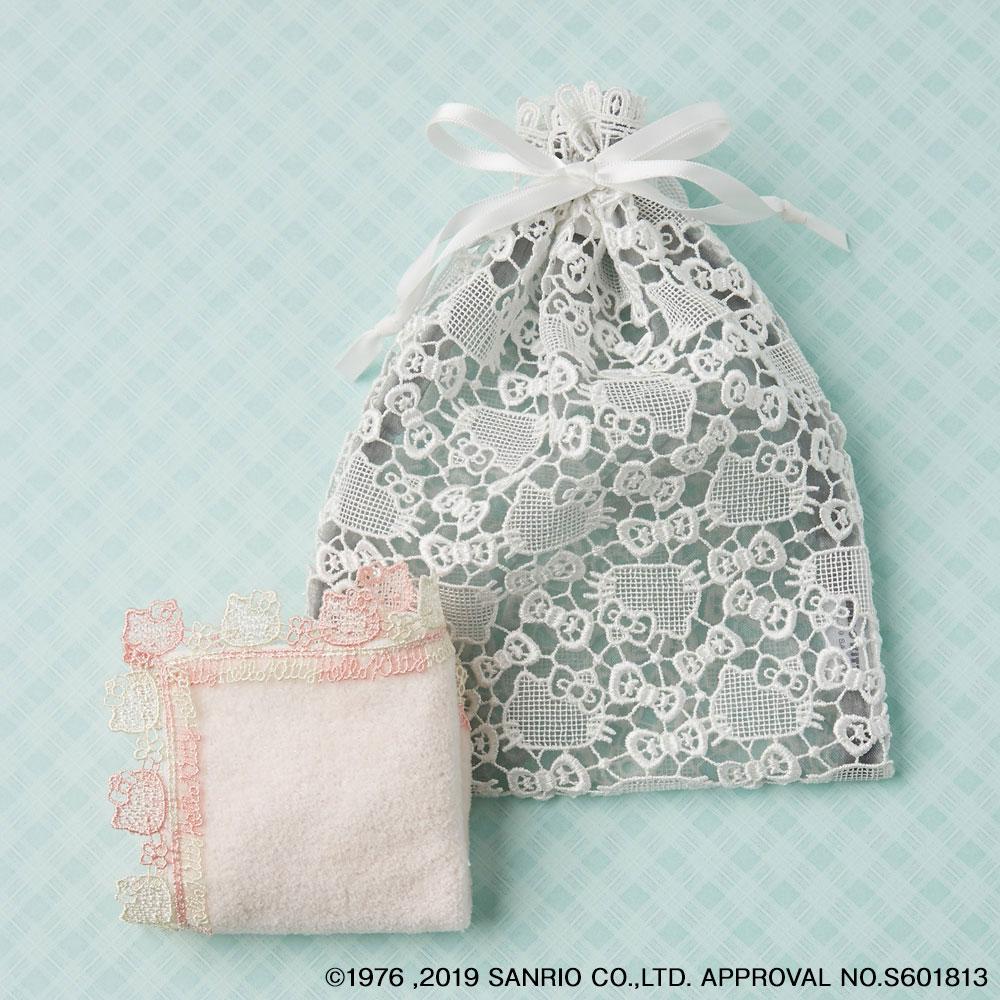 ハローキティタオルハンカチ(ピンク)・巾着(ホワイト×グレー)