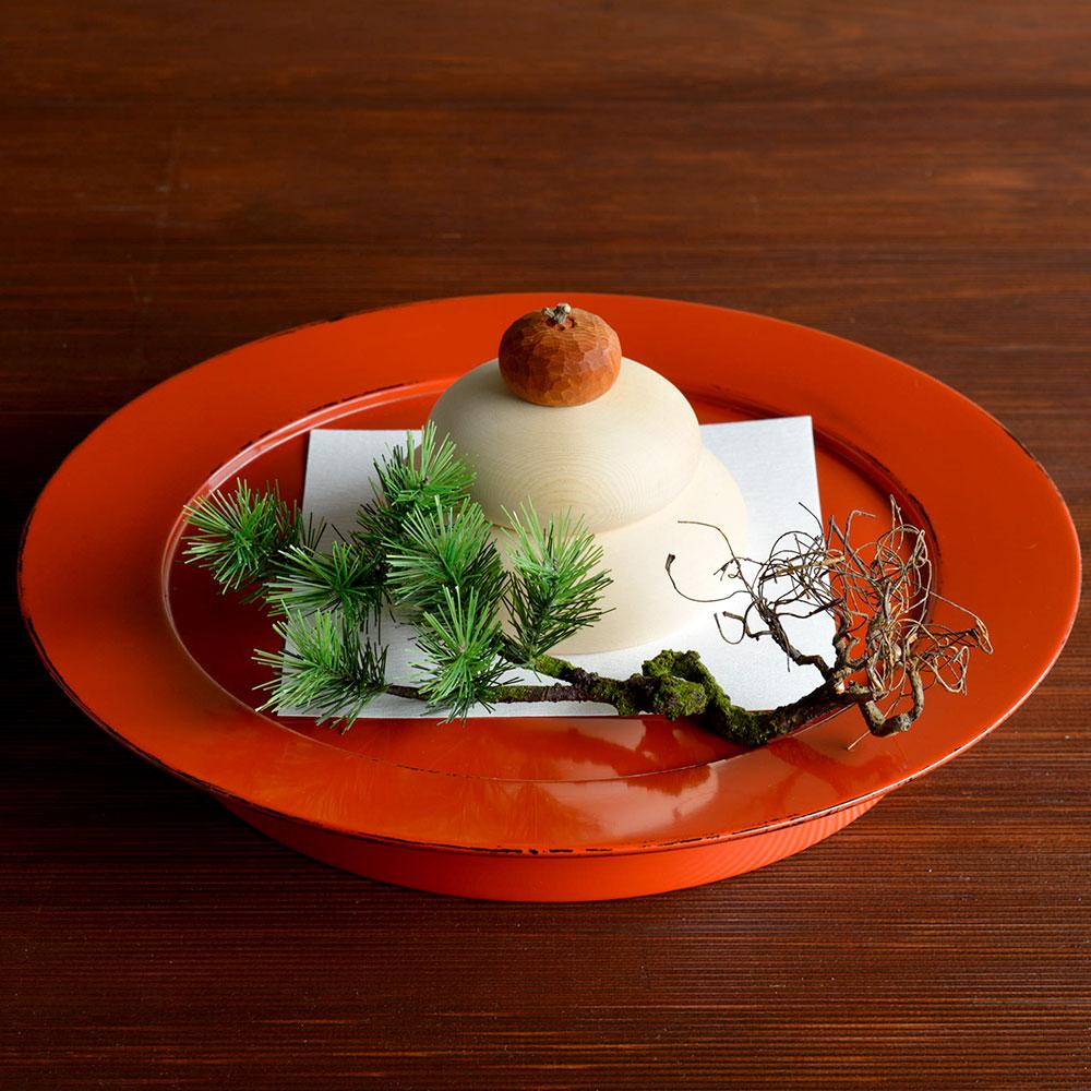 蓬莱飾り「萬壽」村瀬治兵衛さんの根来盆付き