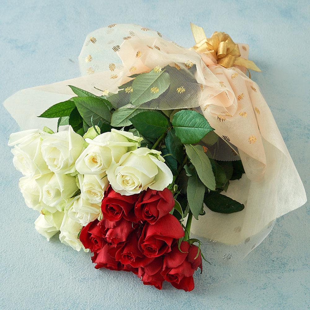 山形 産直 バラの花束(赤×白・20本)(母の日カード付)