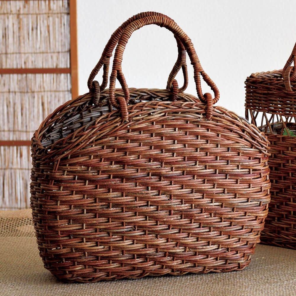 妻胴張りホラ編みあけび籠バッグ