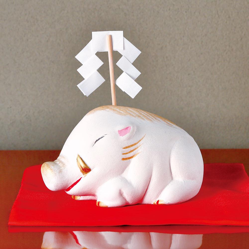 典具帖和紙貼り 干支置物「猪神」