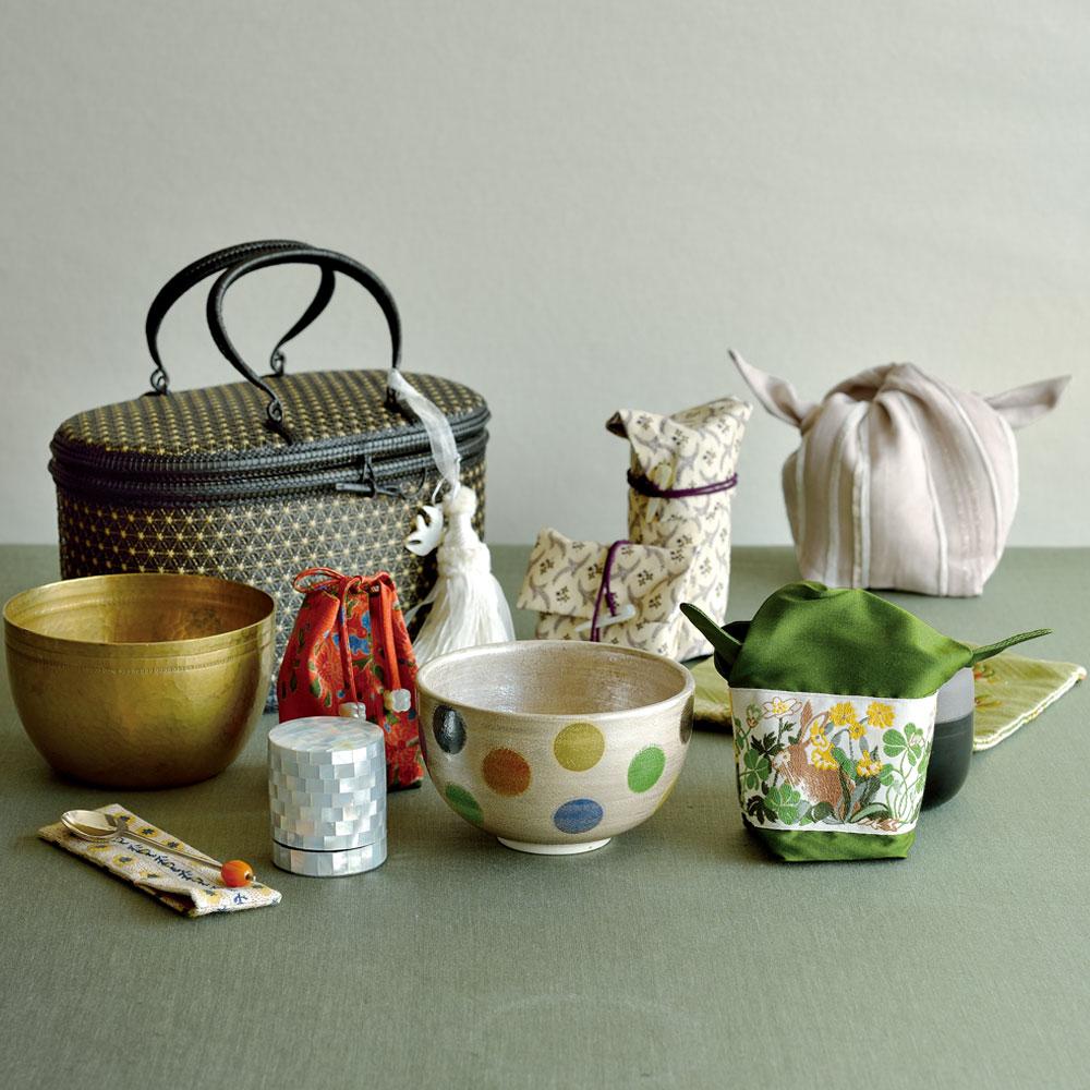 佐々木文代さんの水玉茶碗のグリーン茶籠セット