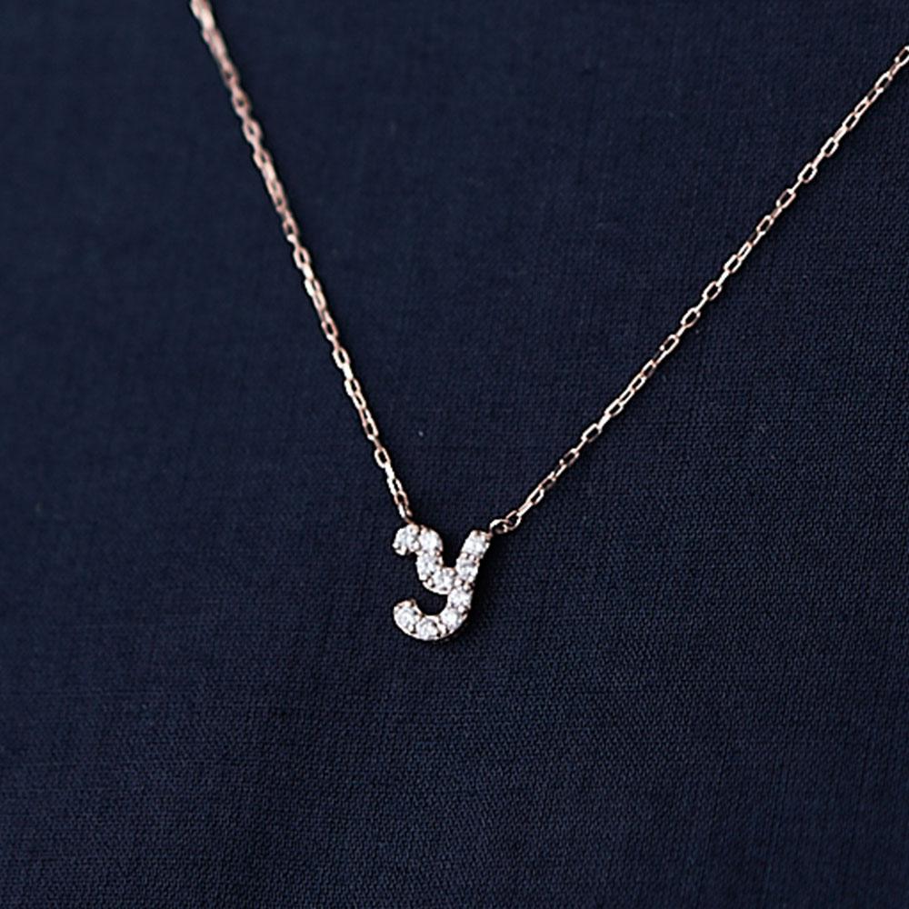 ピンクゴールドとダイヤモンドの イニシャルネックレス Y