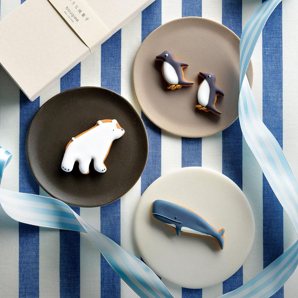 動物クッキー(しろくま、くじら、ペンギン) 3種4枚入り