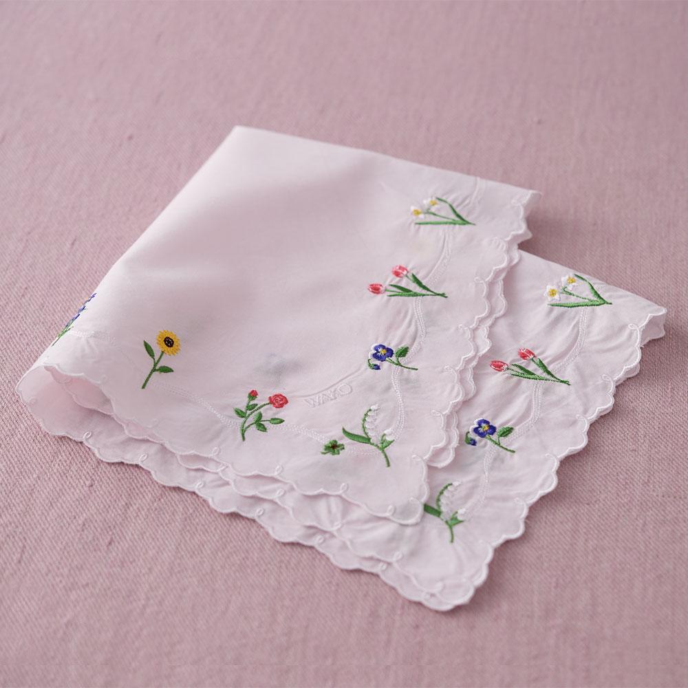 刺繍ハンカチーフ ピンク