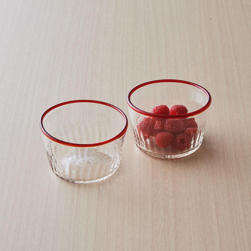 村松学さんのガラス食器 ペアデザートカップ赤