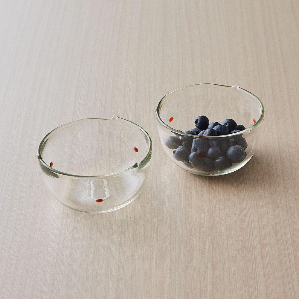村松学さんのガラス食器 ペアドット小鉢 赤(2個セット)