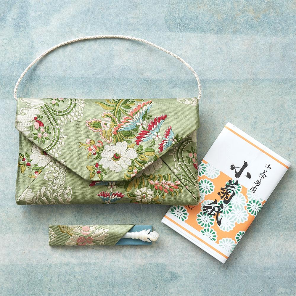 仏シノワズリ数寄屋袋セット(福楊枝・懐紙付き)グリーン