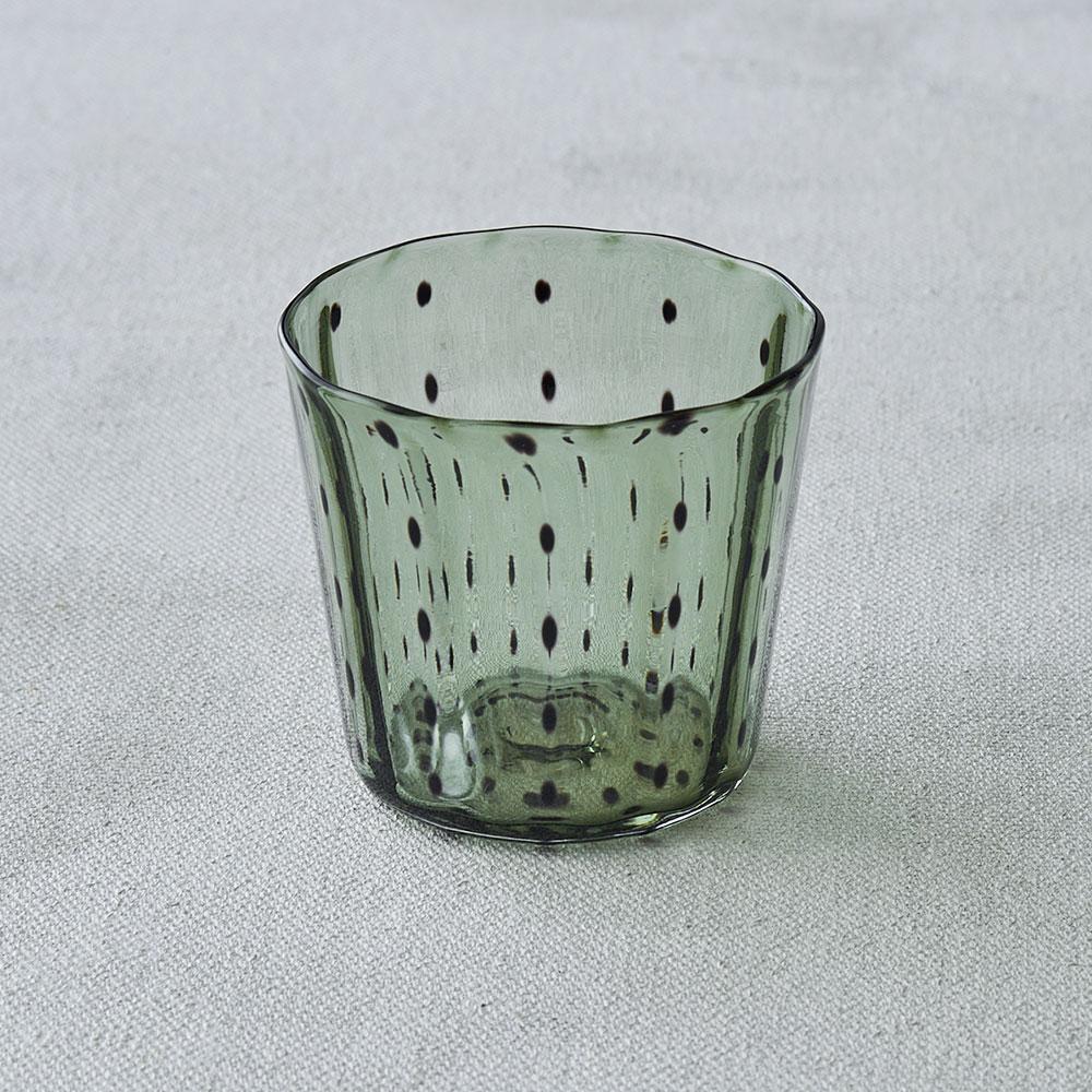 鈴木努さんのガラス器 豆絞りグラス オリーブ