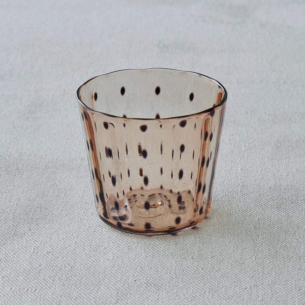 鈴木努さんのガラス器 豆絞りグラス アンバー