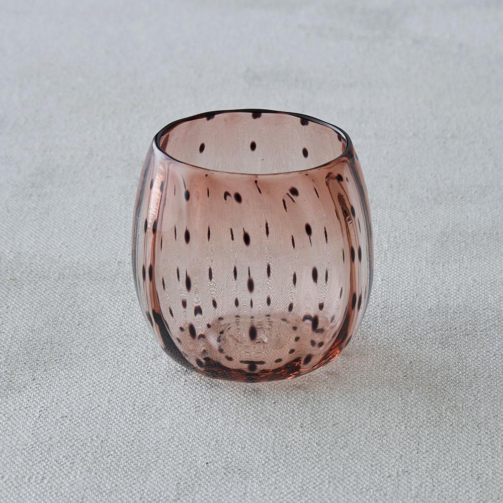 鈴木努さんのガラス器 豆絞りフリーカップ アンバー