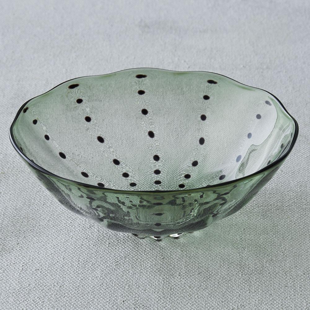 鈴木努さんのガラス器 豆絞りボウル オリーブ