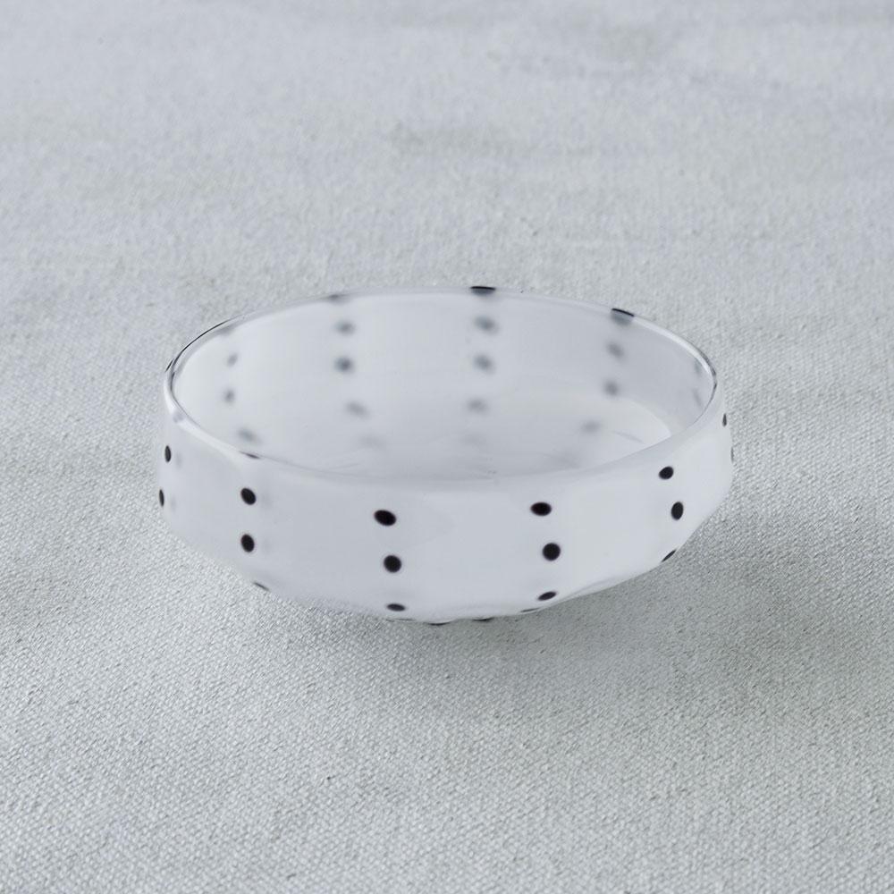 鈴木努さんのガラス器 豆絞り小鉢 ホワイト