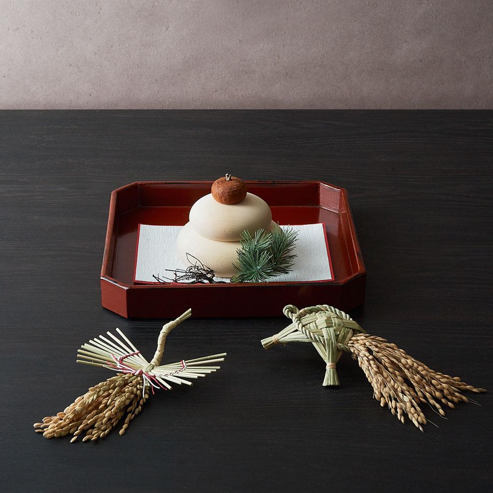 蓬莱飾り「寿ぎ」×村瀬治兵衛さんの根来角盆