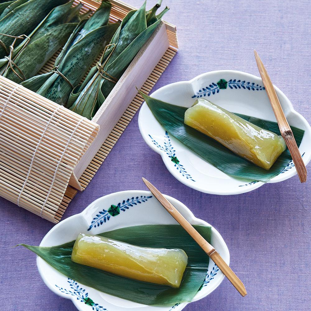 笹包みわらびもち 祥緑(柚子) 8本竹籠入