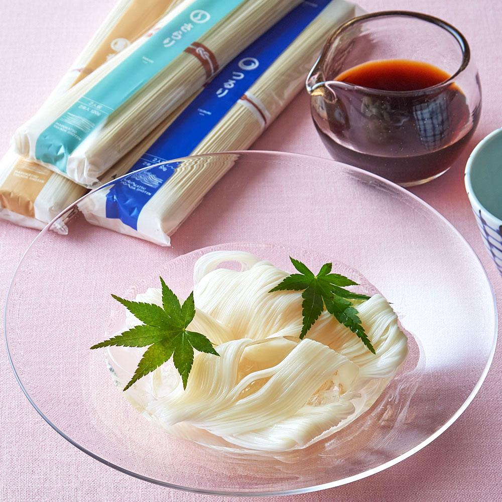 素麺と本格黒つゆの詰合せ(3種6束・つゆ1本)
