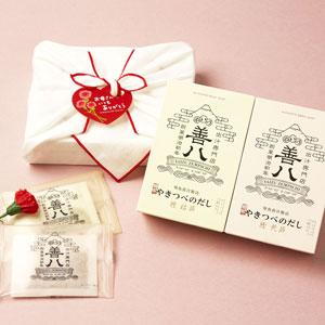 やきつべのだし(荒節・枯節)ふきん包セット(母の日カード付)